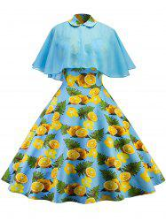 Vintage Lemon Printed Pin Up Dress With Cape -