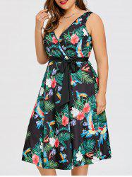 Плюс Размер Tropical Midi Surplice Dress -