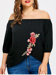 Plus Size Embroidery Overlap T-shirt -