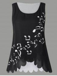 Musical Notes Print Plus Size Sleeveless Blouse -