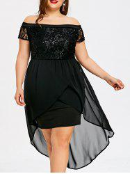 Plus Size Sequined High Low Dress -