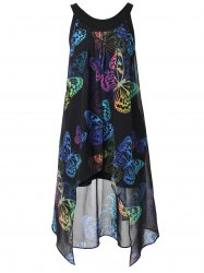 Colorful Butterfly Print Plus Size Sleeveless Blouse -