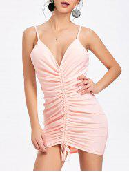 Cami Strap Plunging Neck Ruched Dress -