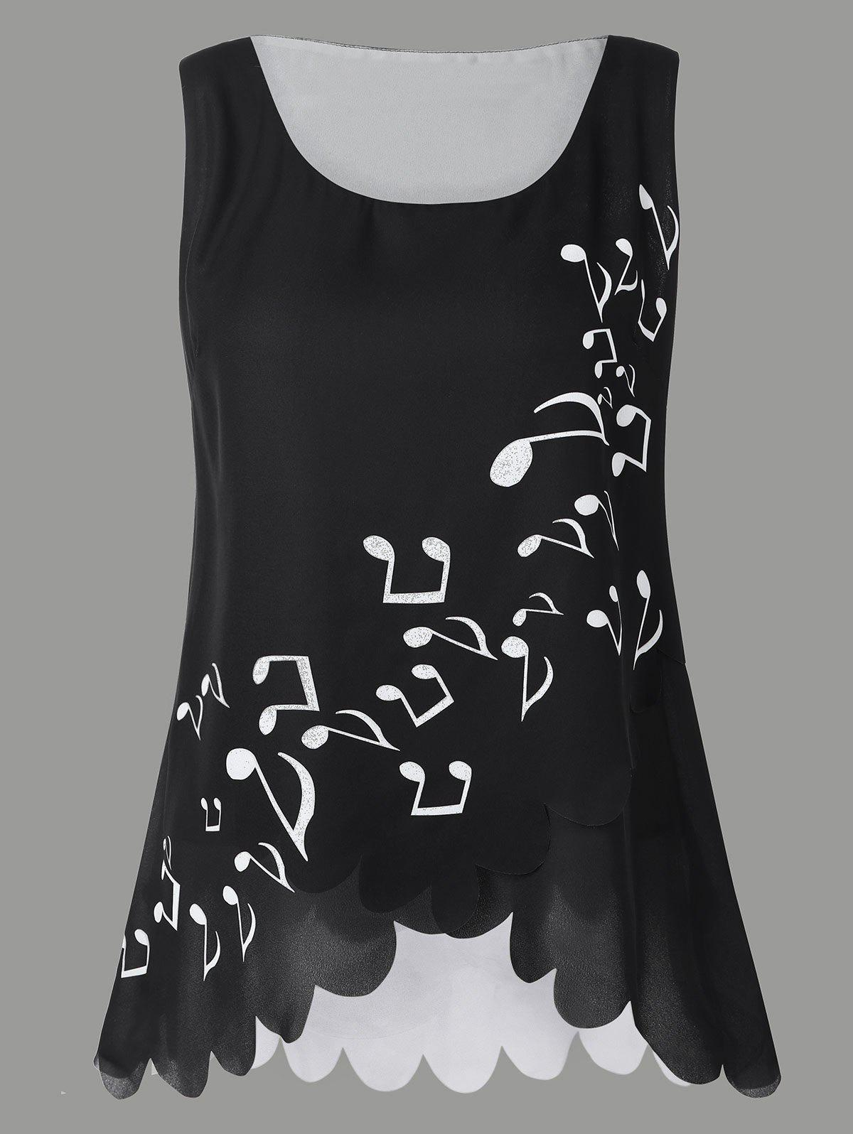 Cheap Musical Notes Print Plus Size Sleeveless Blouse