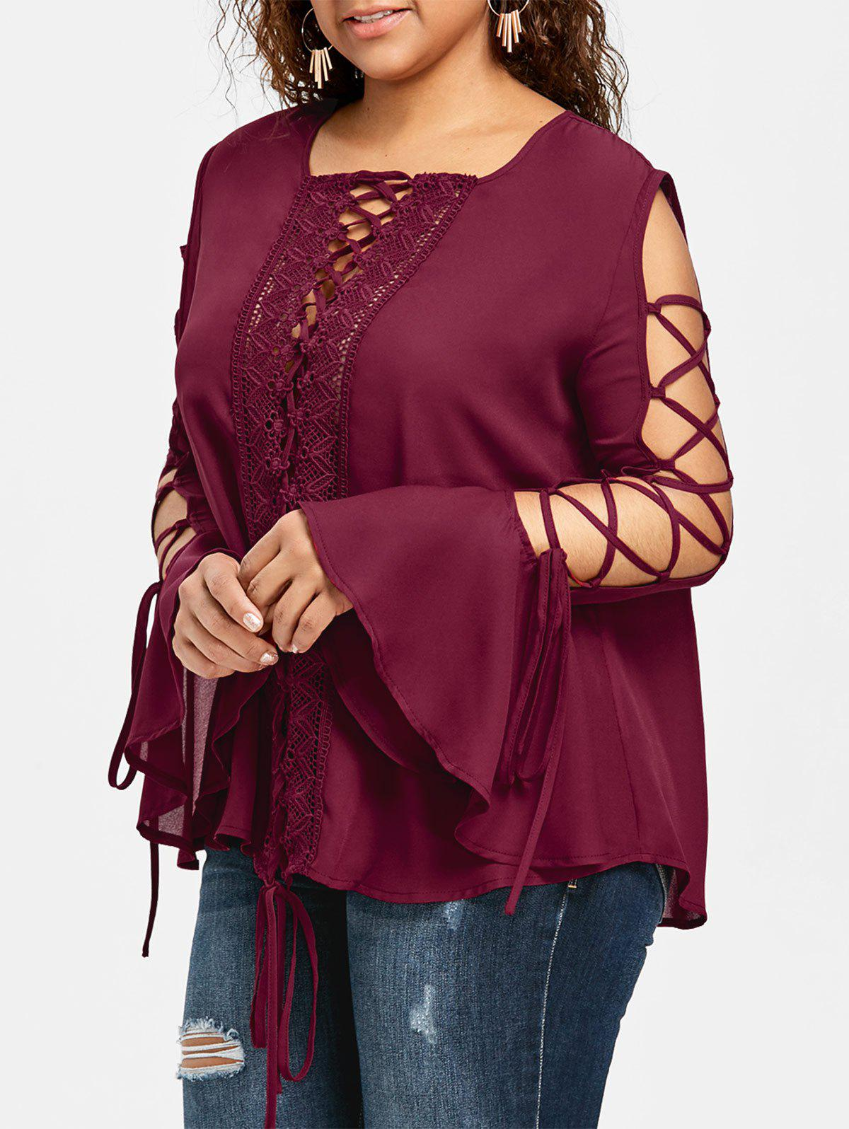 Store Plus Size Bell Sleeve Lace Up Blouse