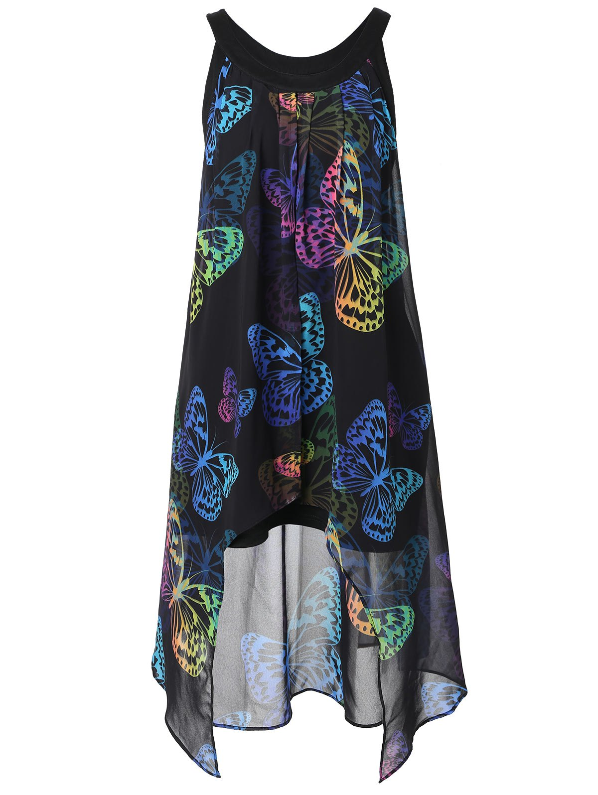 Latest Colorful Butterfly Print Plus Size Sleeveless Blouse
