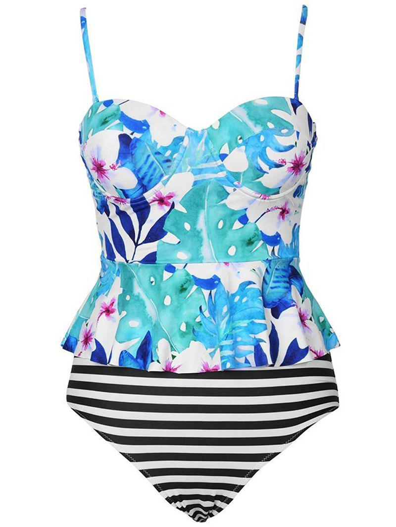 Outfit Floral Striped Peplum Tankini Set