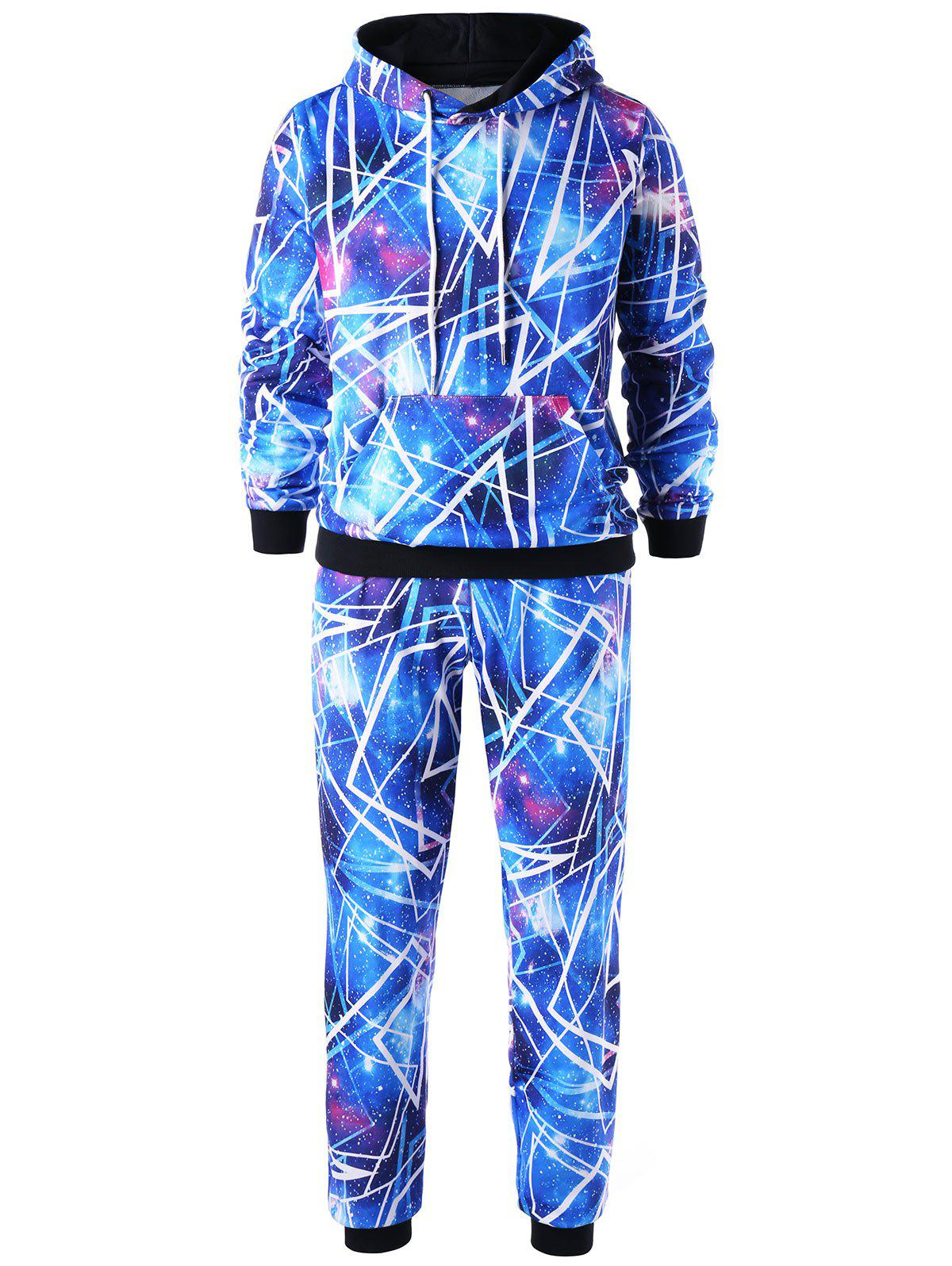 Trendy Galaxy Drawstring Hoodie with Jogger Pants