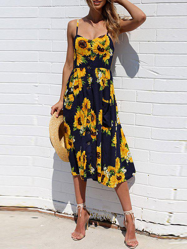 Shop Spaghetti Strap Sunflower Printed Dress