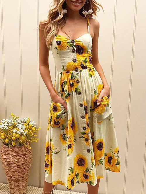 Discount Spaghetti Strap Sunflower Printed Dress