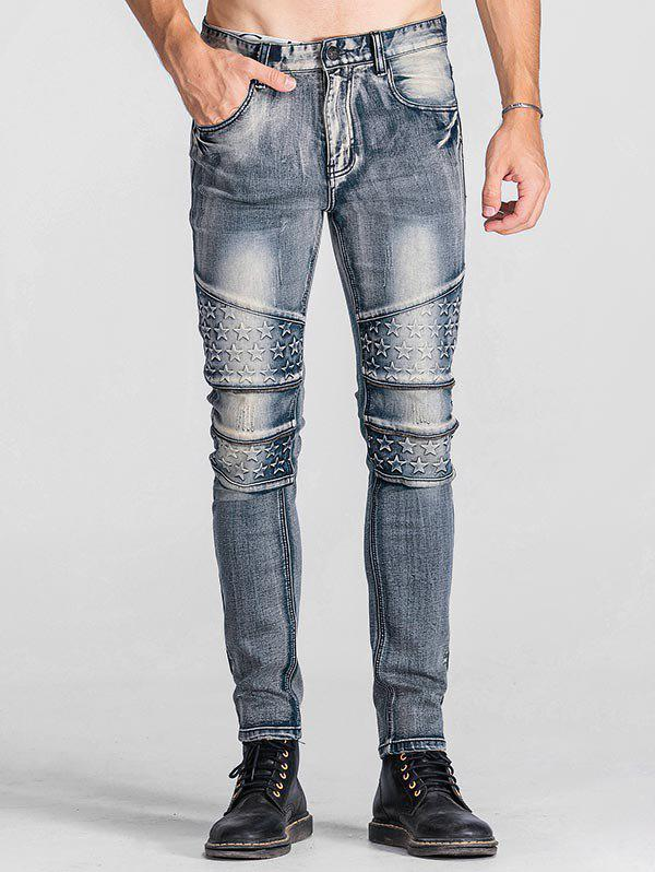 Cheap Zip Teeth Embellished Star Emboss Faded Jeans