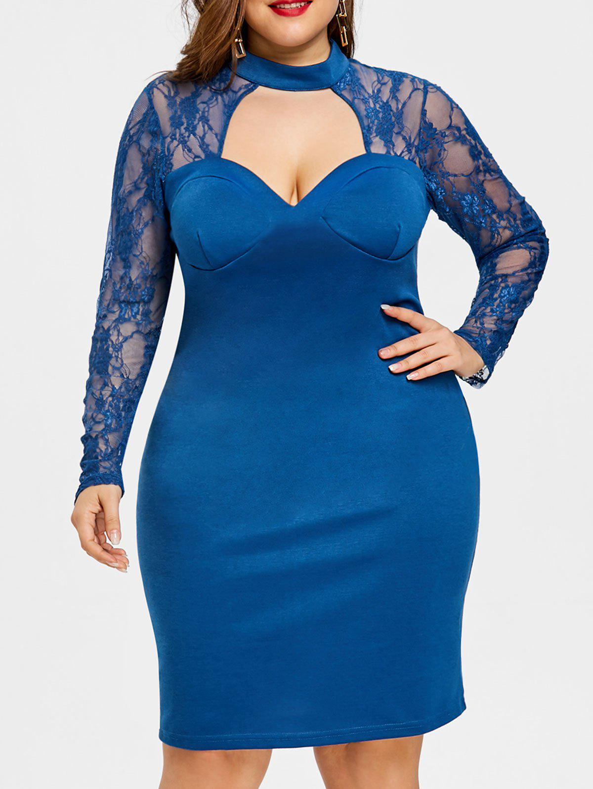 Online Plus Size Lace Trim Formal Bodycon Dress