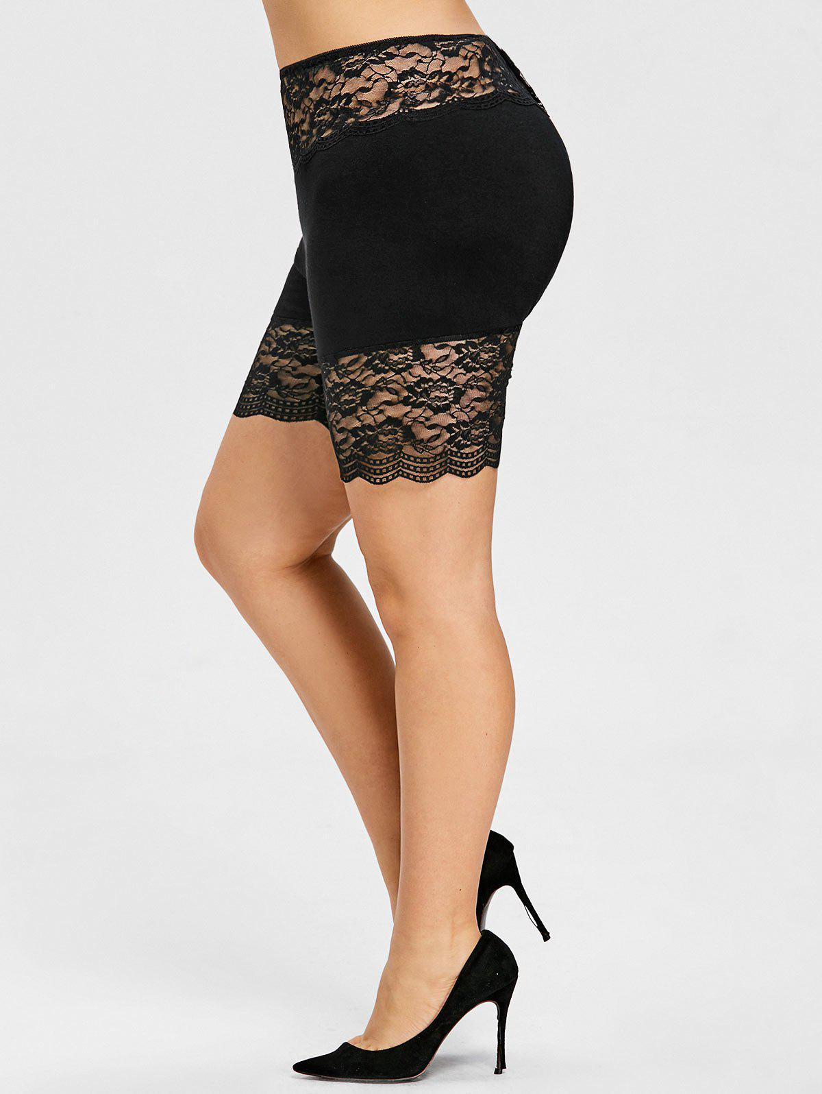 Chic Plus Size Rose Lace Panel Safety Shorts