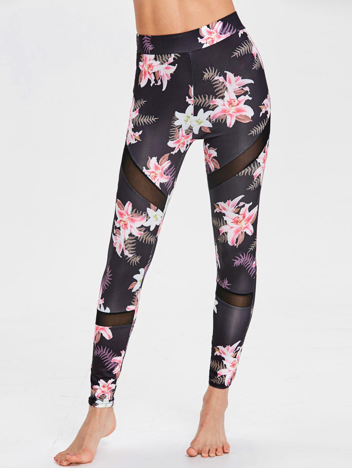 New Floral Print Mesh Insert Sports Leggings