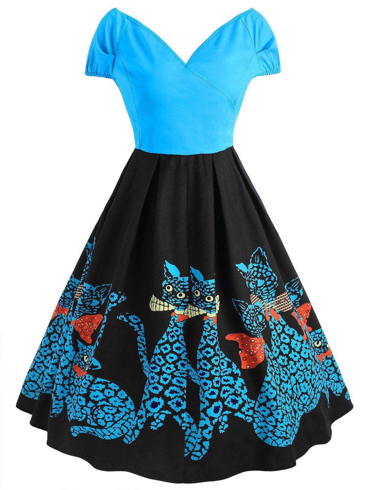 Latest Plus Size Flare Kitten Vintage Dress