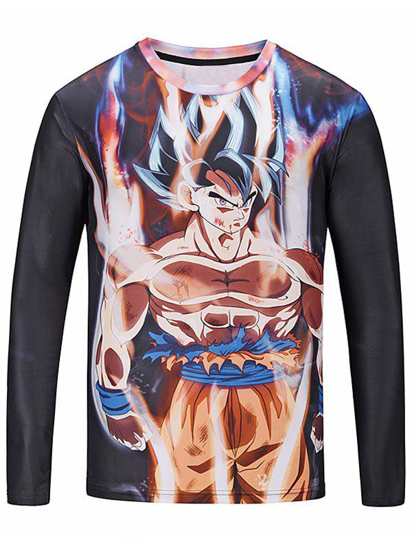 Cheap Crew Neck Long Sleeve Anime Print T-shirt