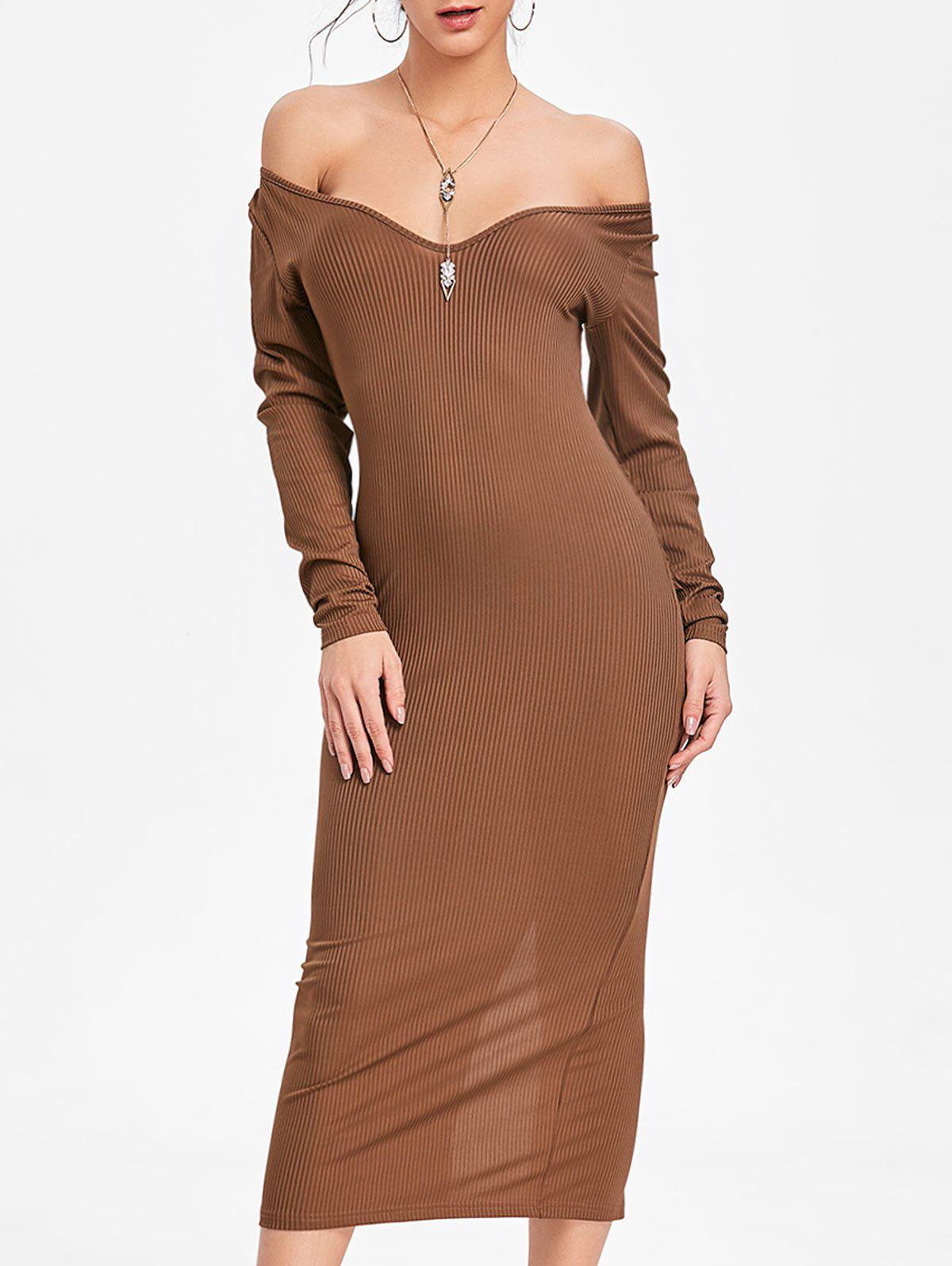 Cheap Long Sleeve Open Shoulder Ribbed Dress