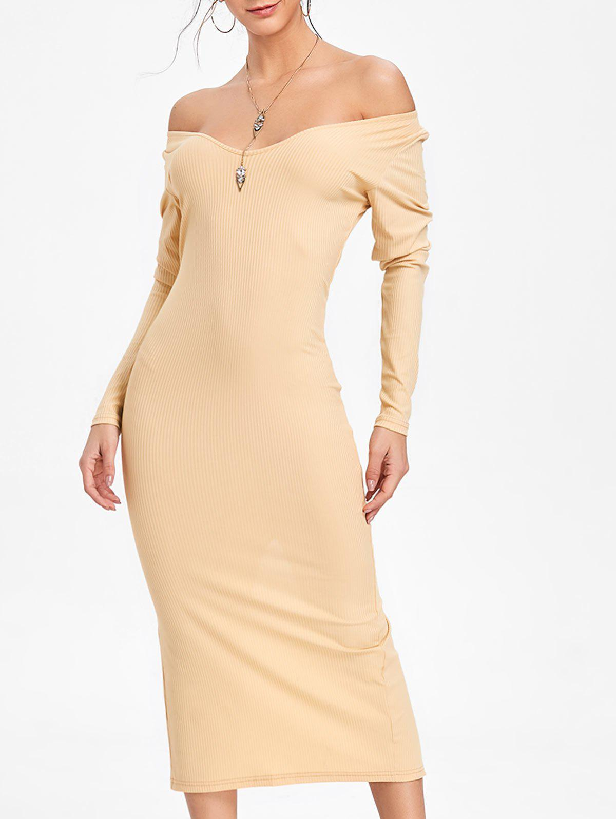 Best Long Sleeve Open Shoulder Ribbed Dress