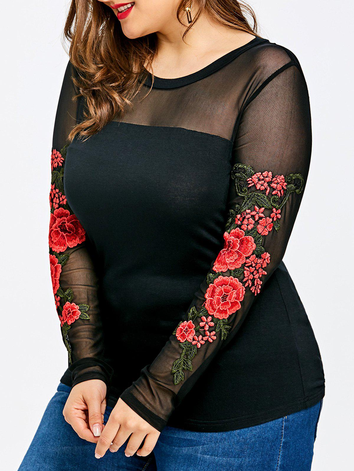 Outfit Plus Size Sheer Embroidery Long Sleeve T-shirt