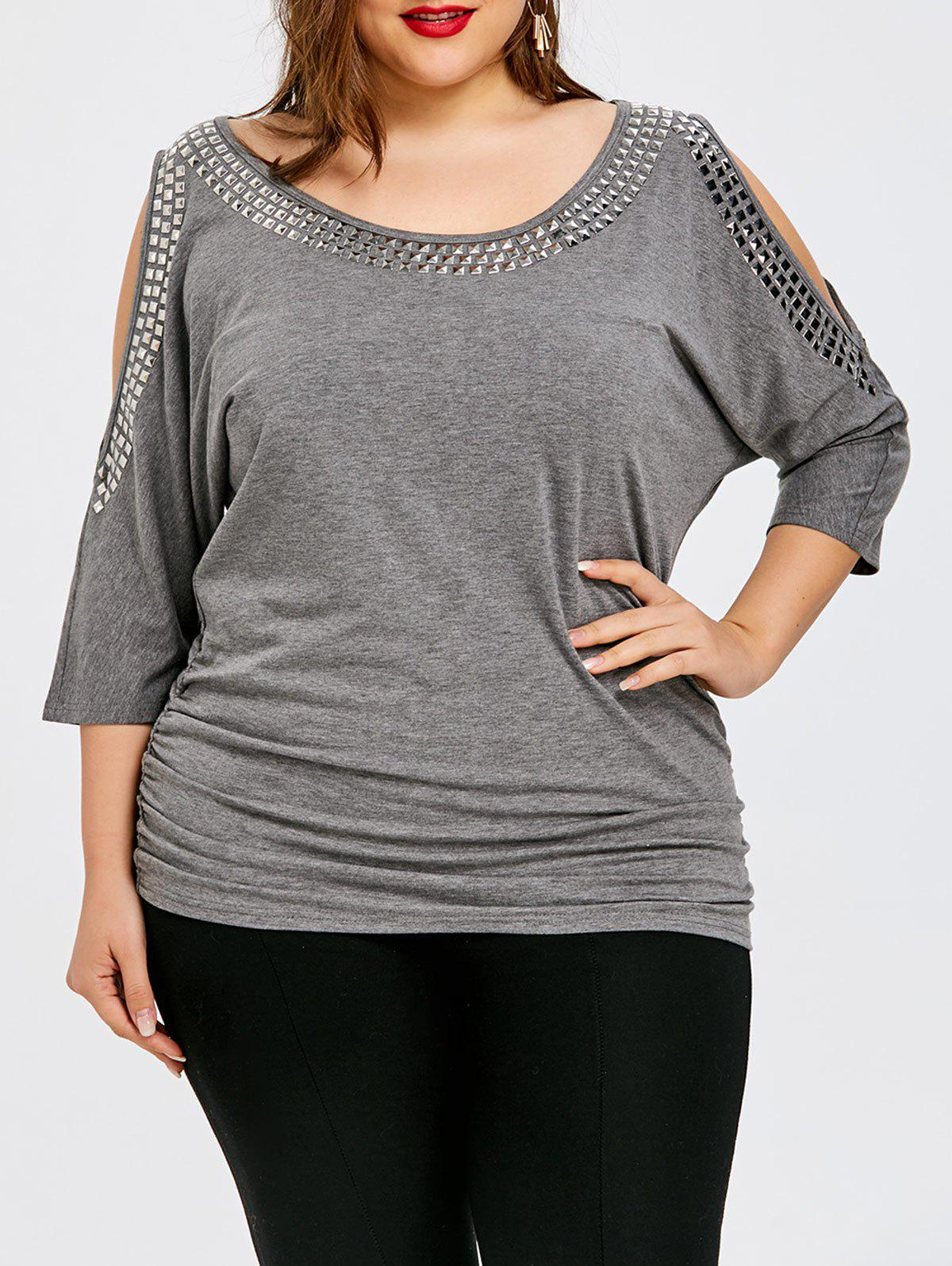 Affordable Plus Size Batwing Sleeve Cold Shoulder T-shirt
