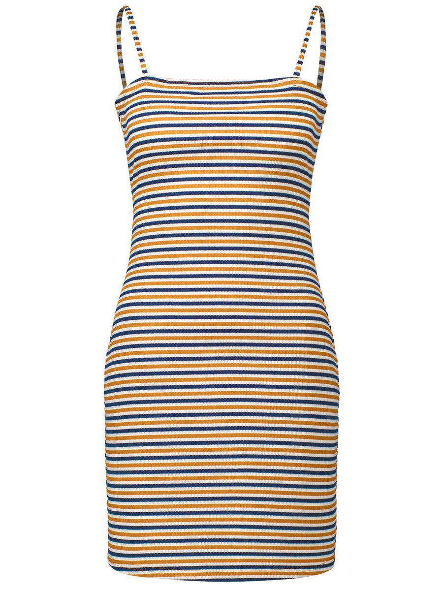 Affordable Spaghetti Strap Striped Bodycon Dress