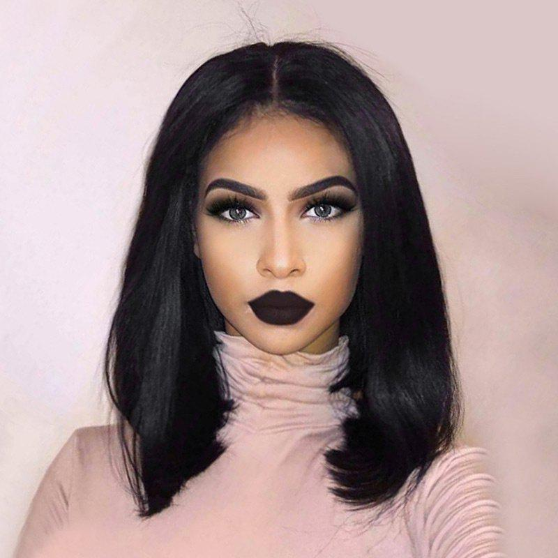 Sale Medium Center Parting Synthetic Straight Bob Lace Front Wig