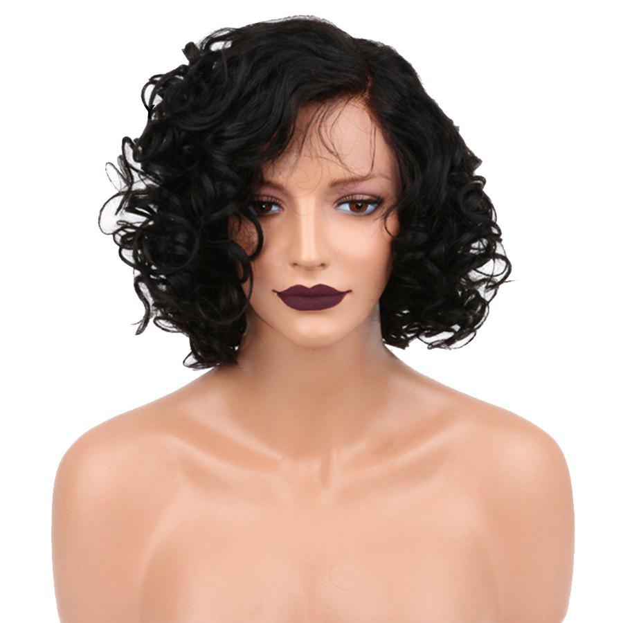 Affordable Short Side Parting Shaggy Curly Lace Front Synthetic Wig