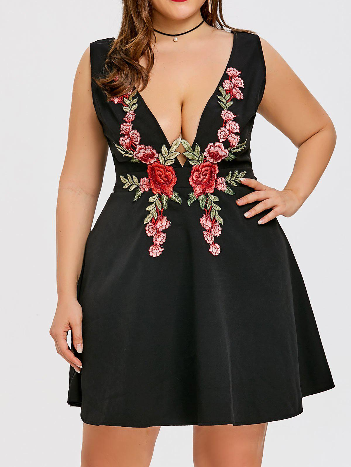 Shops Embroidered Plus Size Plunge Party Dress