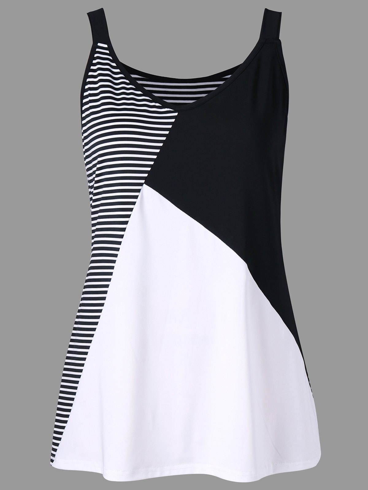 87f69c4ce409bf 40% OFF   2019 Plus Size Striped V Neck Tank Top