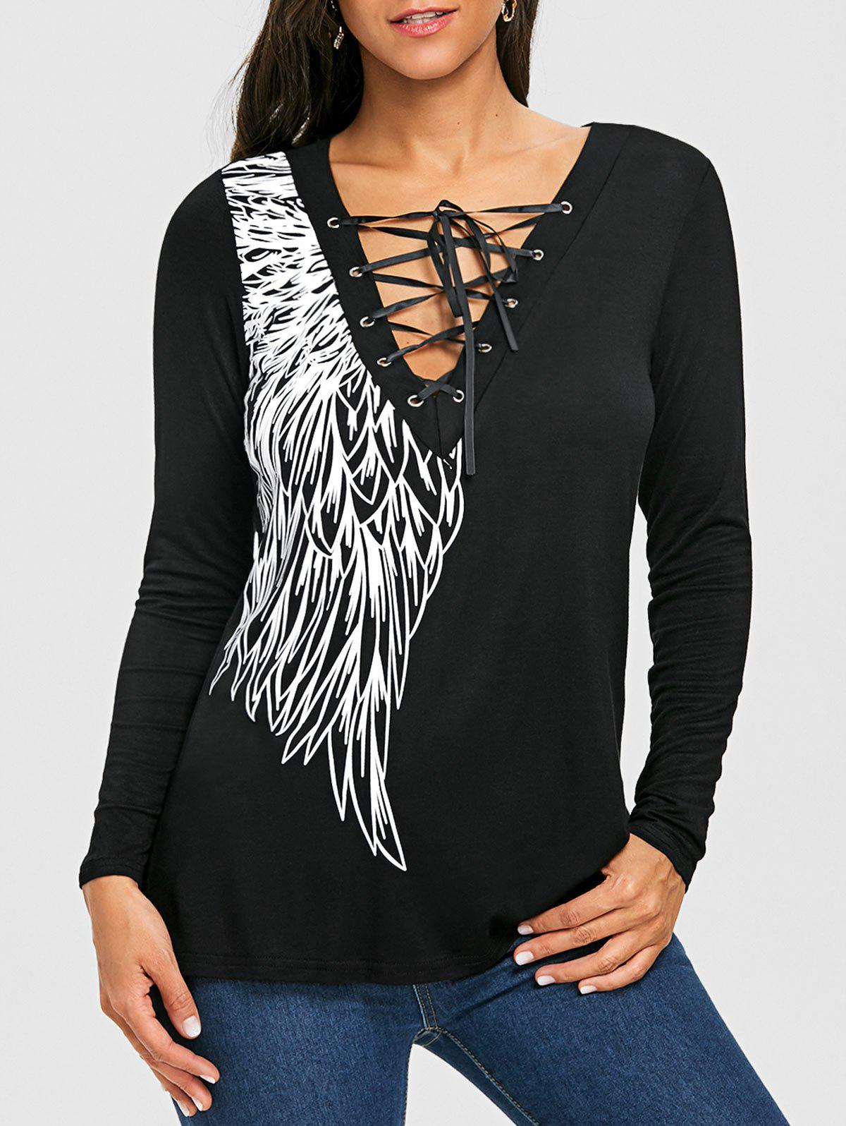 Fancy Long Sleeve Wing Print Lace Up Top