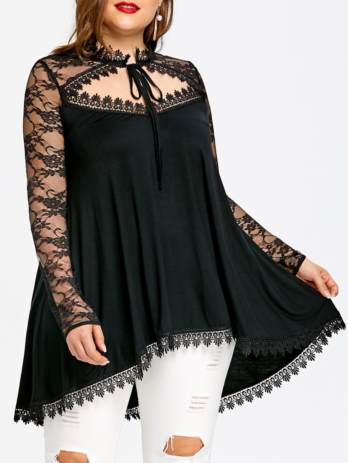Outfits Plus Size Sheer Cut Out Dip Hem T-shirt