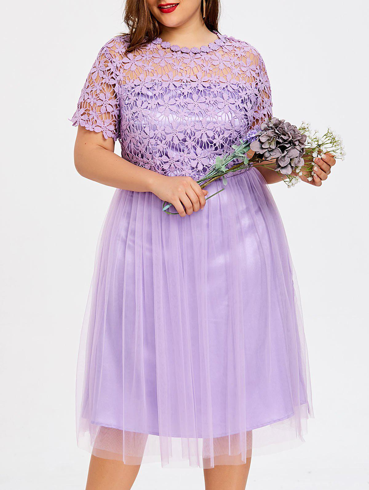 Discount Plus Size Cutwork Floral Tulle Bridesmaid Dress