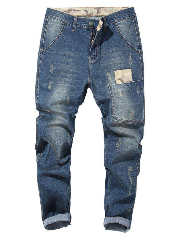 Outfits Camouflage Patch Drop Crotch Tapered Jeans