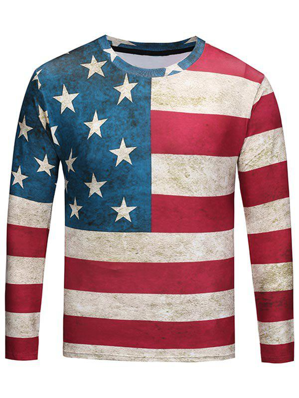 Fancy Crew Neck Distressed American Flag Print Tee