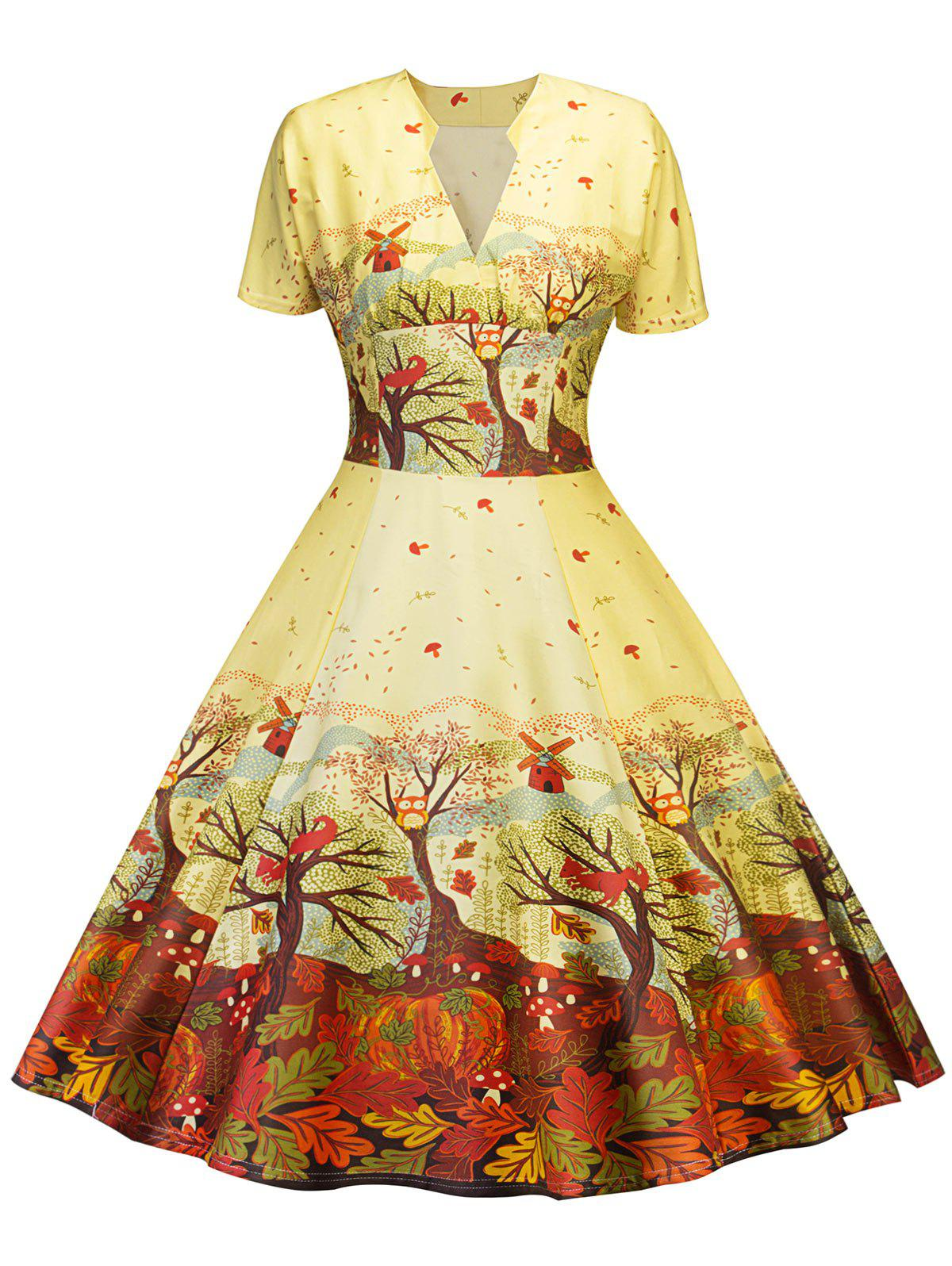 Affordable Retro Forest Printed Pin Up Dress