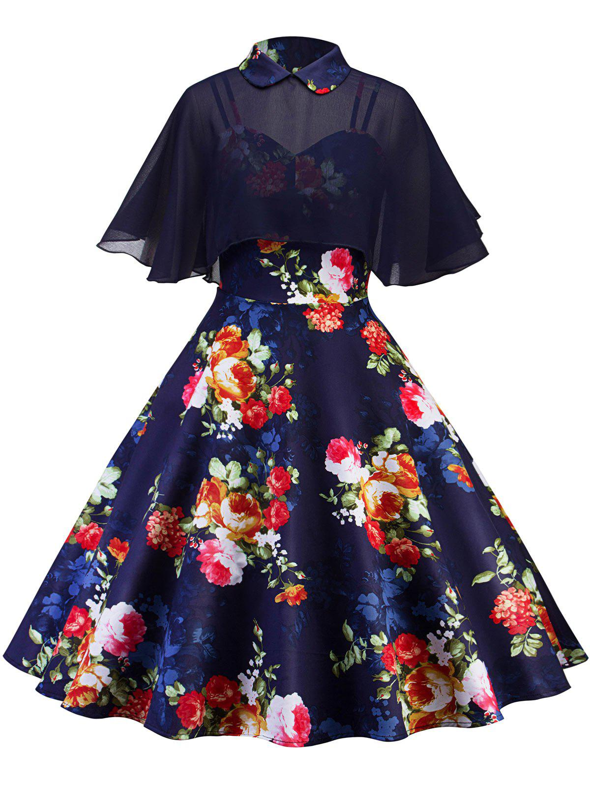 Cheap Retro Floral Printed Pin Up Dress With Cape