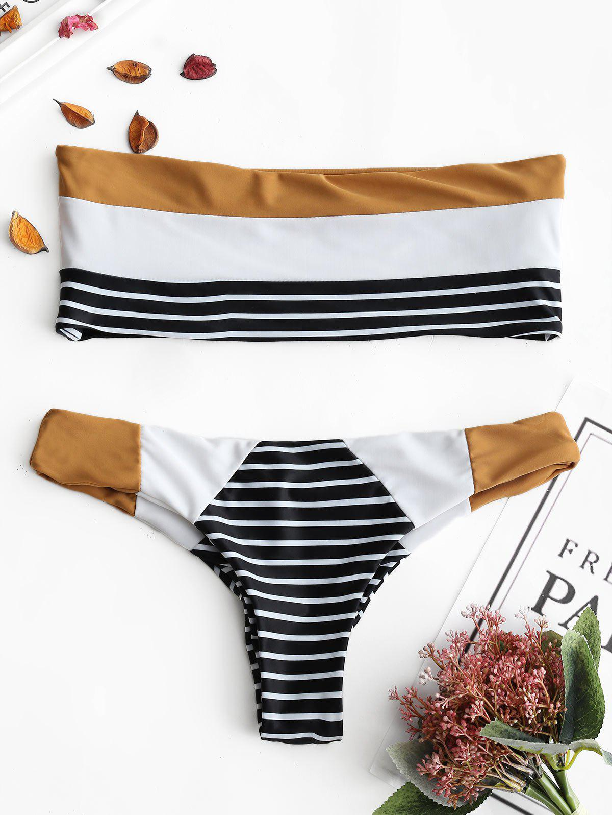 Fashion Striped Bandeau Bralette Thong Bikini Set
