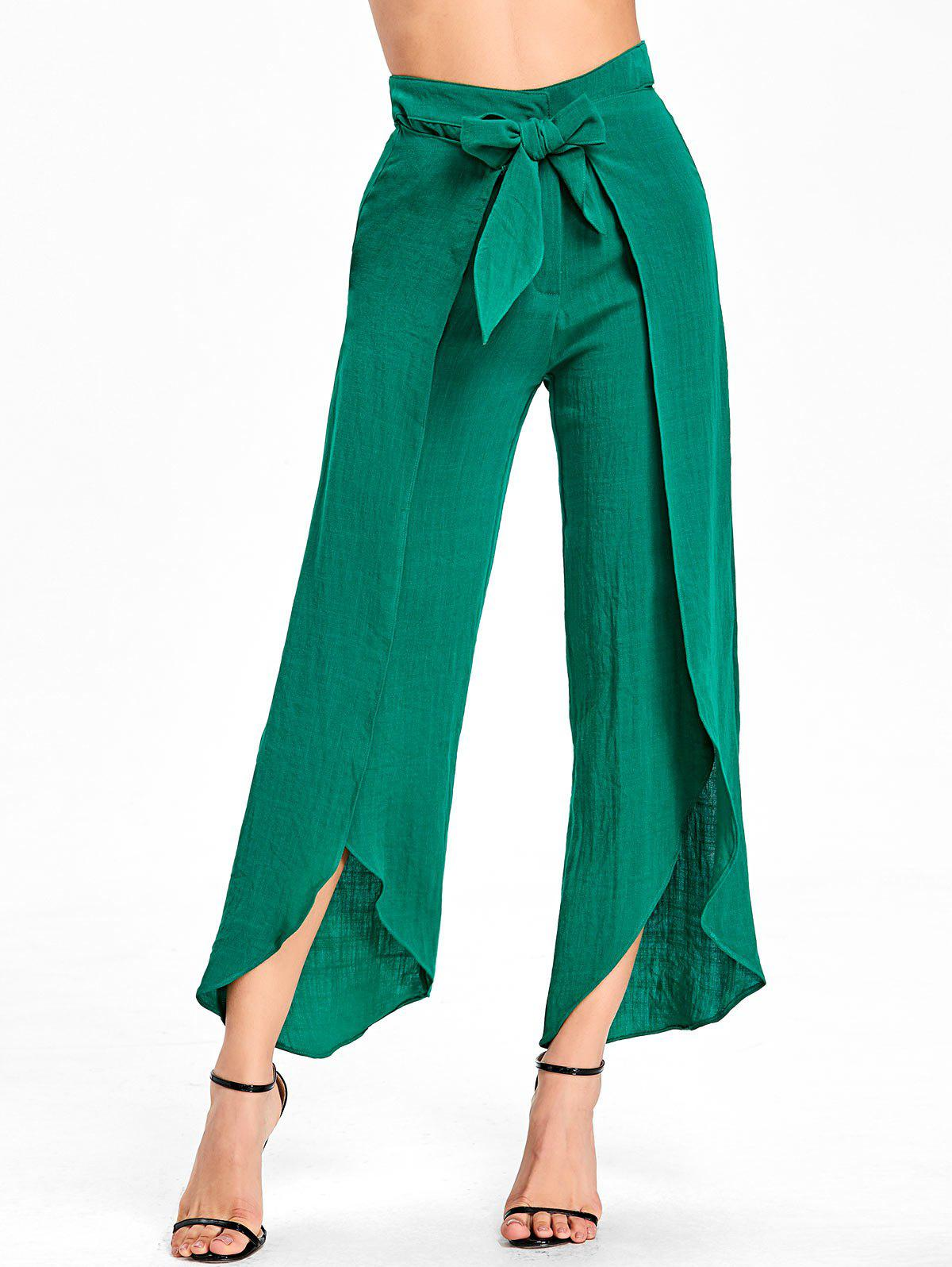 Trendy High Waist High Slit Wrap Pants