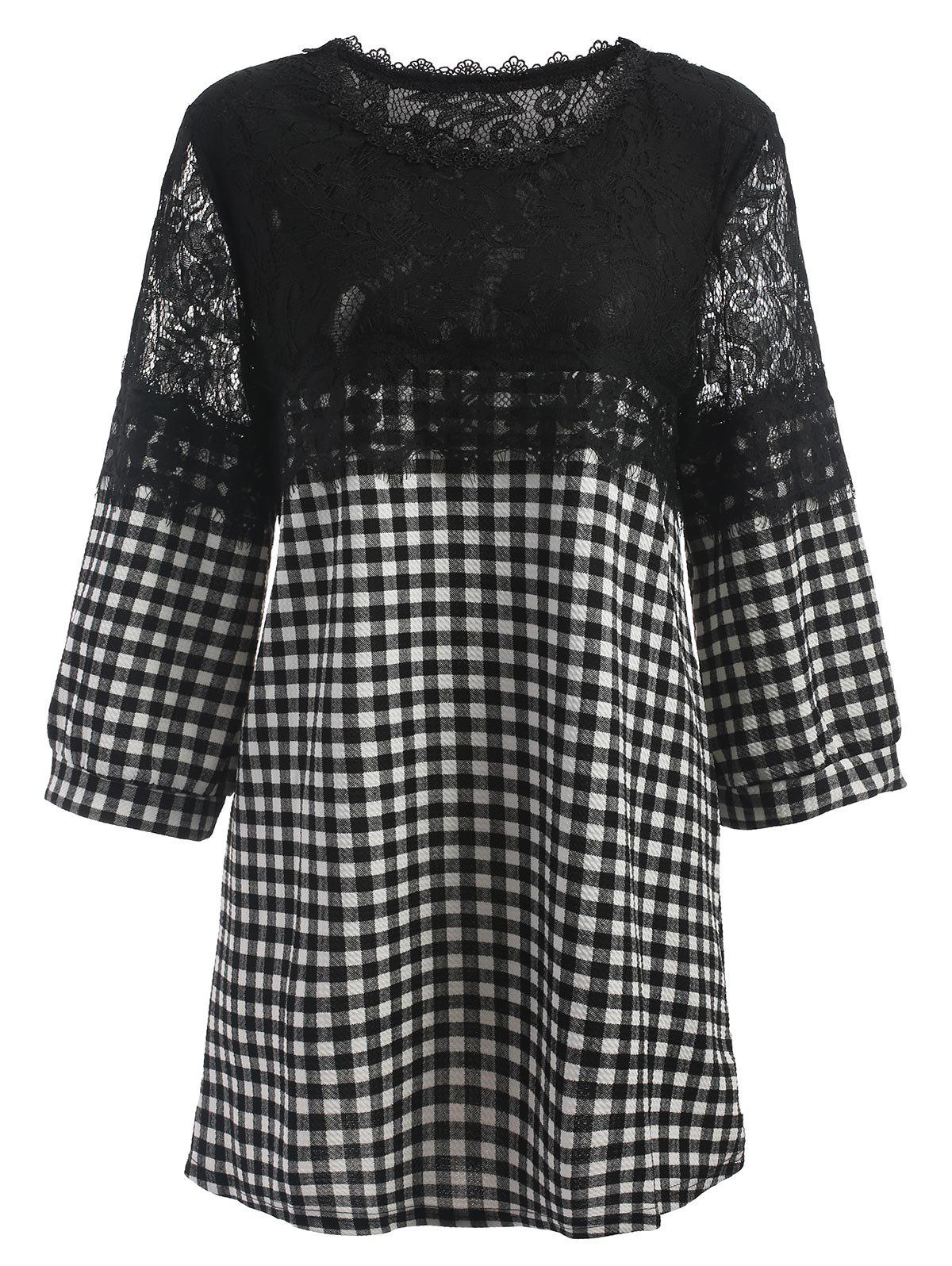 Online Plus Size Plaid Lace Panel Blouse