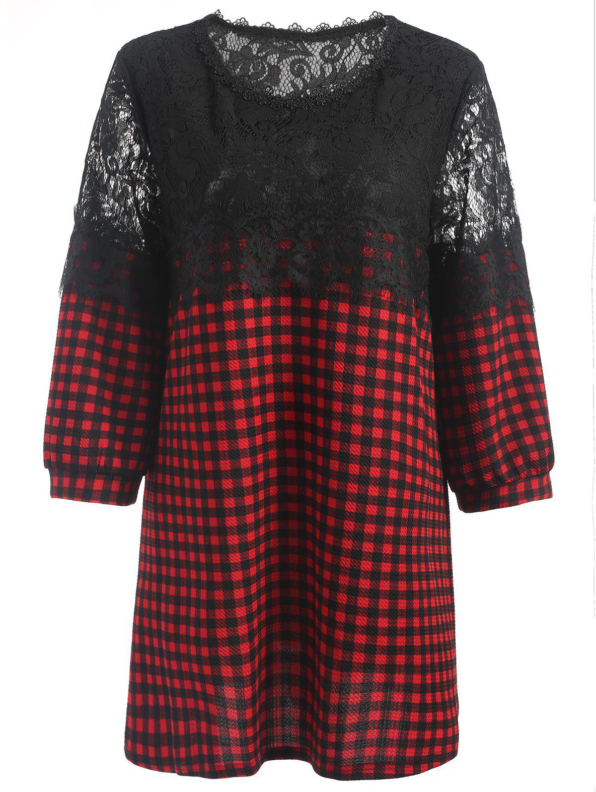 Outfit Plus Size Plaid Lace Panel Blouse