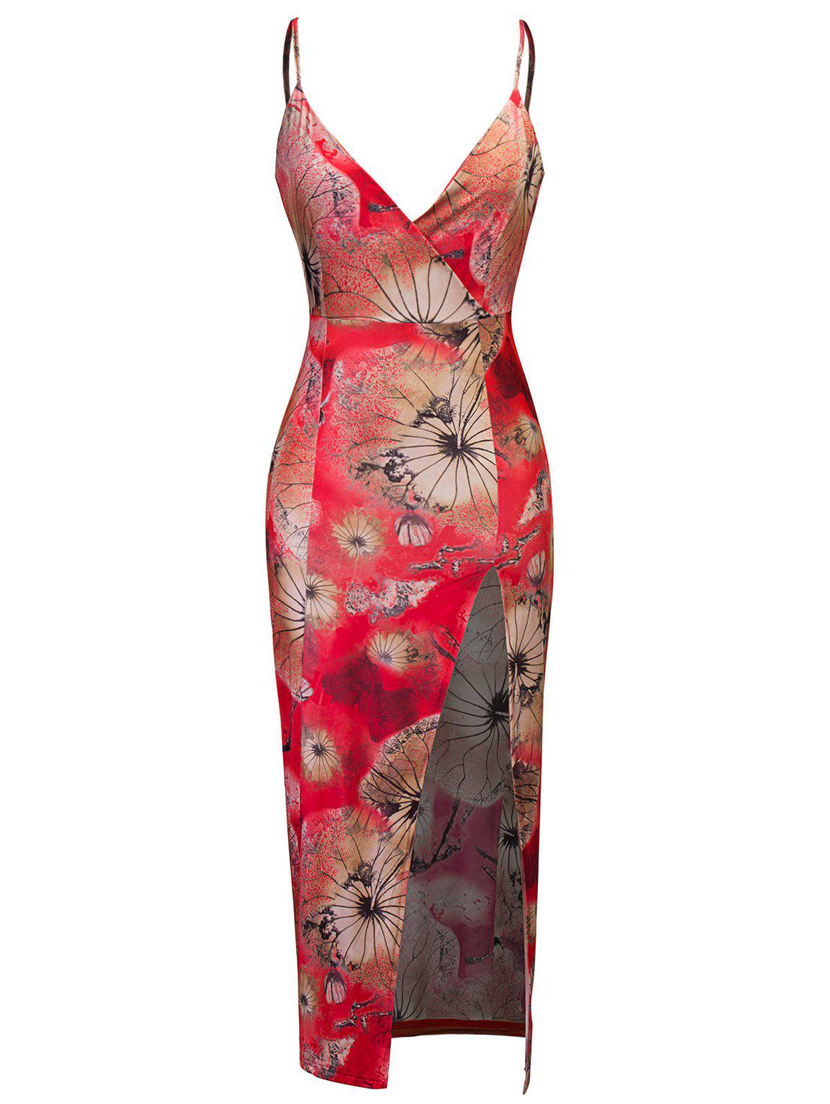 Hot High Slit Floral Print Midi Bodycon Dress