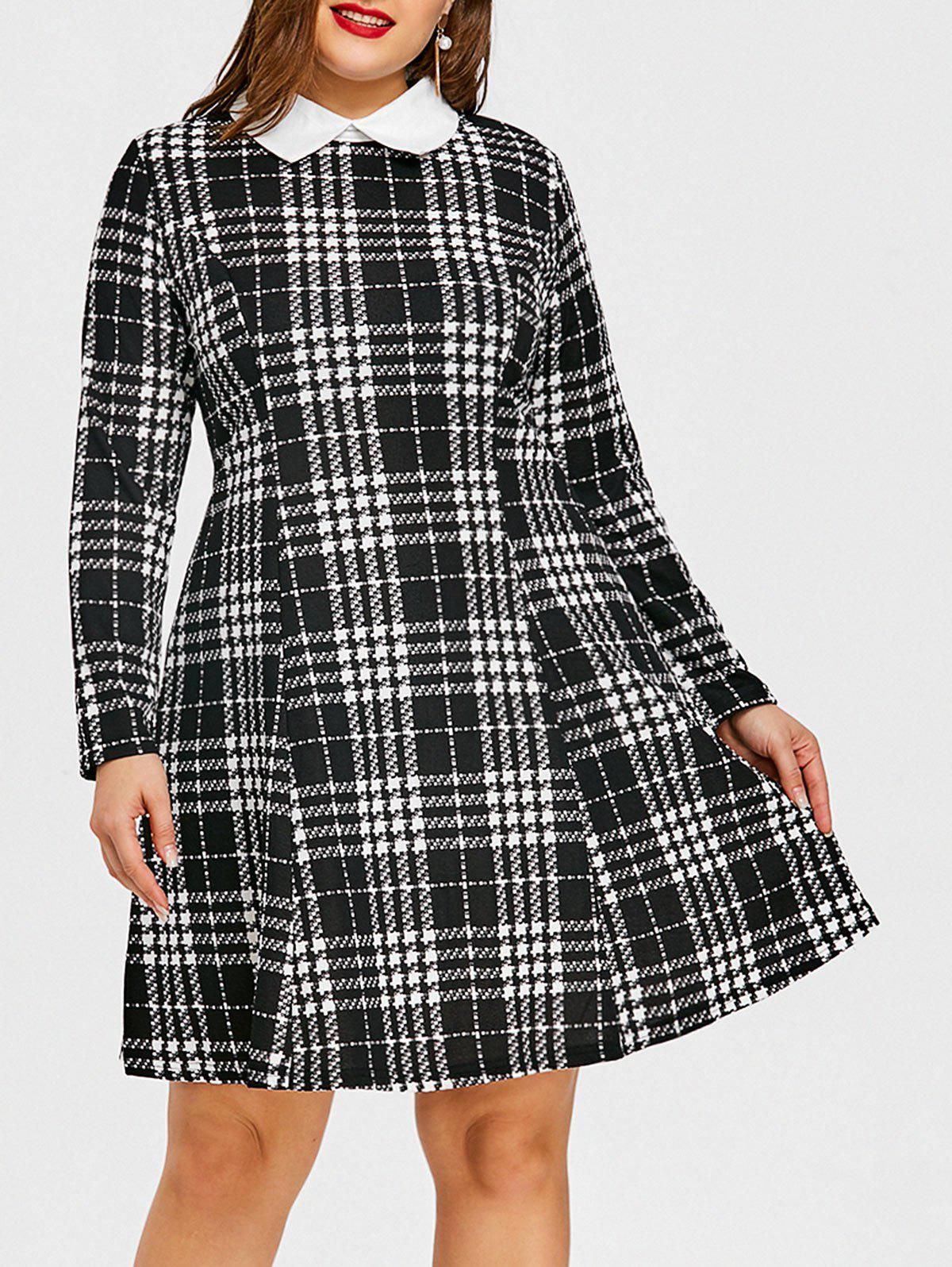 Buy Plus Size Flat Collar Plaid Dress