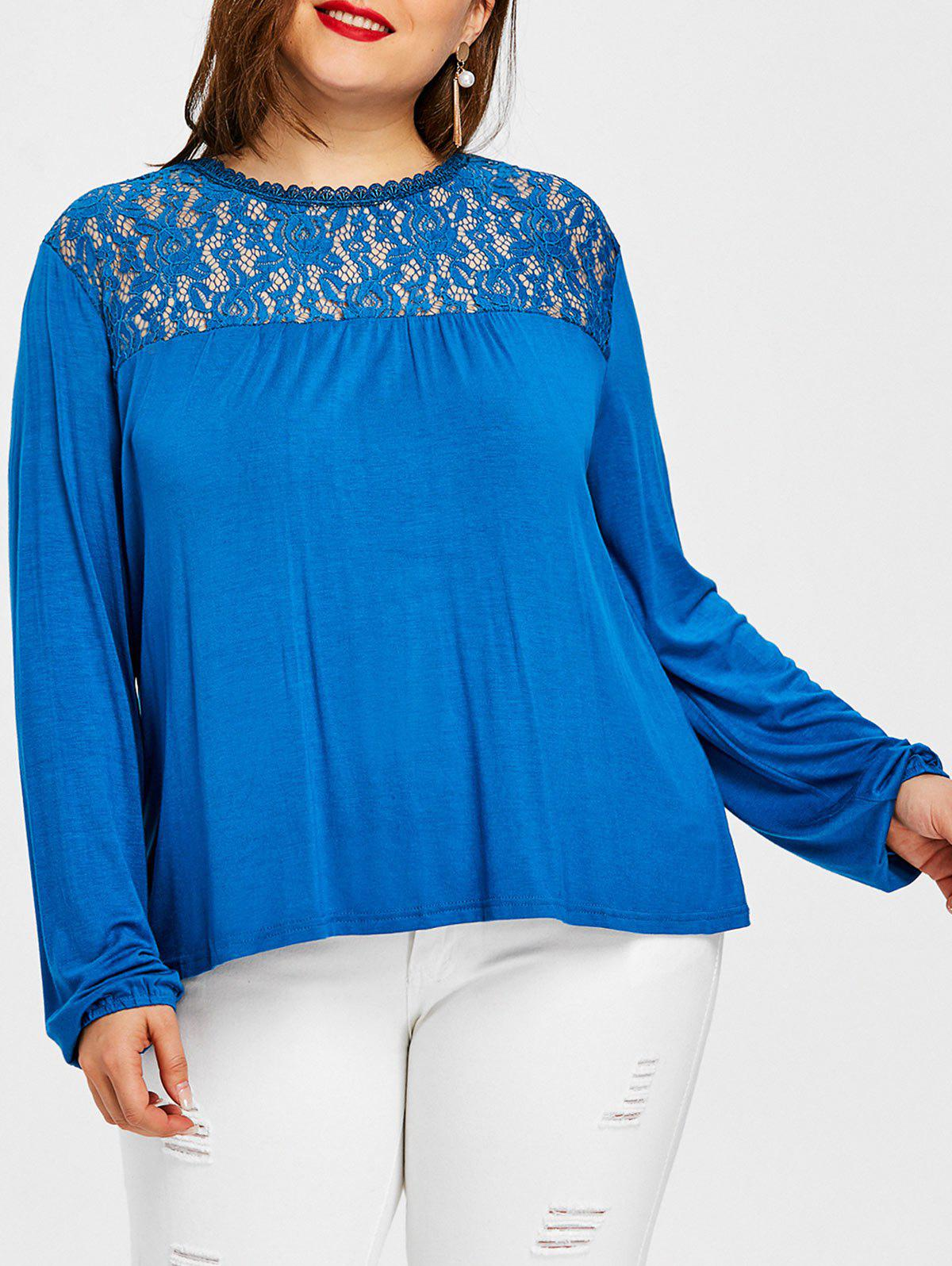 Cheap Plus Size High Low Lace Panel T-shirt
