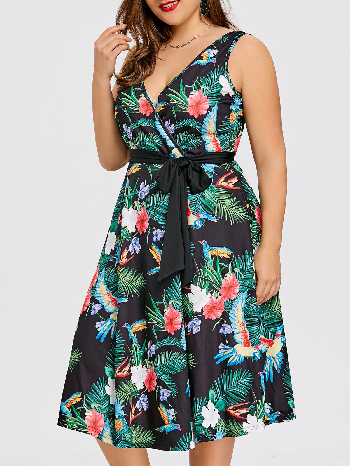 Outfits Plus Size Tropical Midi Surplice Dress