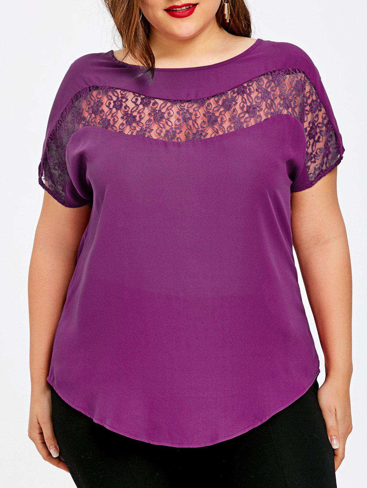 Best Plus Size Lace Insert Curved Hem Blouse