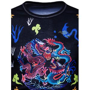 Vintage Chinese Style Dragons Print T-shirt -