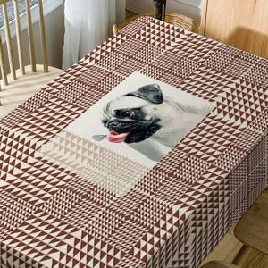 Dog Geometric Print Fabric Waterproof Table Cloth -