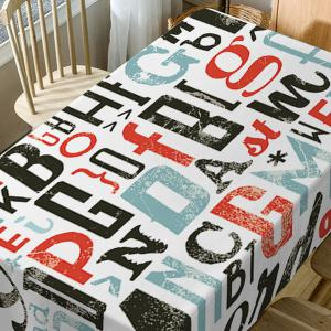 Letter Print Fabric Waterproof Table Cloth -