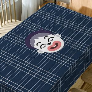 Cartoon Boy Plaid Print Fabric Waterproof Table Cloth -
