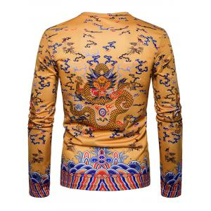 Dragon Print Chinese Style Long Sleeve T-shirt -